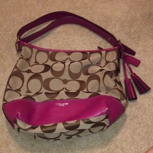 Hot pink and tan coach purse